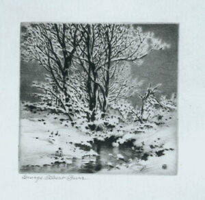George ELbert Burr etching, Winter Snow, pencil signed, mint condition!!!