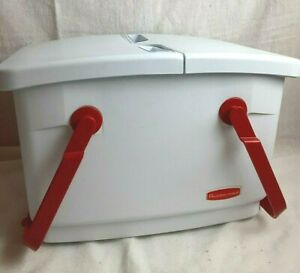 Rubbermaid Vintage White Picnic Basket Double Handles Insulated Cooler Basket