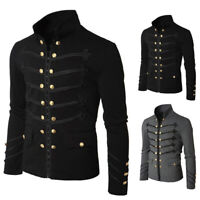 Gothic Steampunk Black/Grey Parade Military Marching Band Jacket Goth Punk Mens