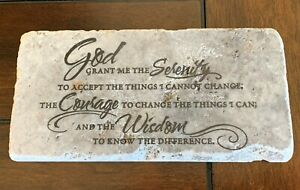 Serenity Prayer -black faux ancient looking tile support gift