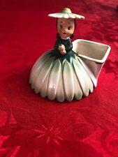 1956 Napco Flower Girl Figurine Planter S1702C With Green Flower Hat Dress