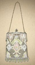 ANTIQUE 1920's WHITING DAVIS MESH ENAMEL POCKET BOOK PURSE HAND BAG ART NOUVEAU