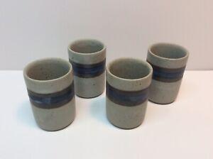 4 Vintage Otagiri Horizon Stoneware Juice Tumblers MCM