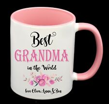 BEST GRANDMA personalised with names Coffee Cup Mug Birthday Gift Mothers Day