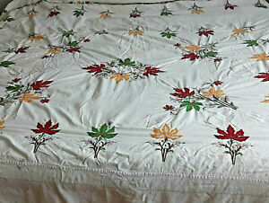 """VINTAGE EMBROIDERED  BEDSPREAD COVER LARGE 100"""" X 105""""  COLORFUL"""