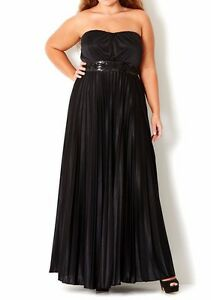 City Chic Formal Gown Pleated Maxi Dress Plus Size S