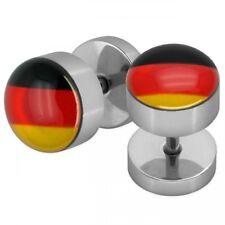 1 Paar Fake Plugs Deutschlandflagge schwarz rot gold Fußball WM 2018 Land Fahne
