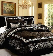 7 pc Queen Comforter Set Leopard Zebra Black White Faux Animal Fur Bed Spread