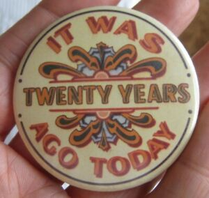 THE BEATLES Sgt Peppers album vintage 1987 was 20 years ago today tin pin BADGE