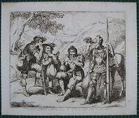 1835 Antiguo Estampado Don Quijote Chisciotte Por Bartolemeo Pinelli ~ P 27