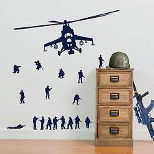 17 Army Men Soldier and Military Helicopter Vinyl Wall Sticker Set Kids Decal A9