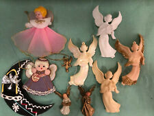 Lot of Misc Angels Vintage & Vtg Style Angel Ornaments Plastic Moon Nylon Satin