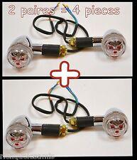 X4pcs / 2 paires Clignotants Tête de Mort rouge - moto custom harley shadow VN