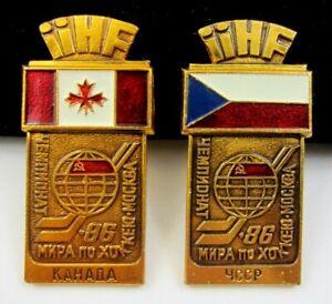 1986 Ice Hockey World Championships Moscow Canada and Czechoslovakia Team Pins