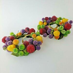 2 Vintage Sugared Fruit Wreath Set Candle Ring Vase Decor Beaded Sugar Berries
