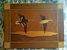Vtg wood mallard duck duo flight wooden inlay art plaque wall waterfowl picture