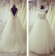 New white/ivory lace wedding dress Bridal gown custom size 6-8-10-12-14-16-18+