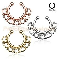 Fancy Tribal Non Piercing Clip On Fake Septum Nose Ring Hanger