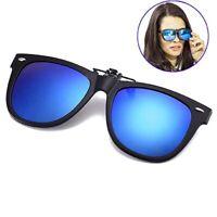 Polarized Flip Up Clip On Sunglasses Black 100% UV Protection Fishing Men Women
