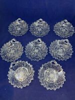 Indiana Glass Set of 8 Vtg Wild Rose Leaves and Berries Dessert Bowl Free Ship!