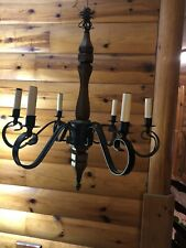 Vtg wood Wrought Iron 6 Light Chandelier Gothic Medieval Spanish Light Fixture