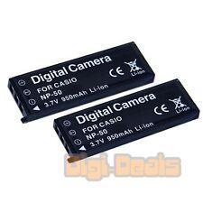 Non-OEM Li-ion Camera Battery for CASIO NP-50 Exilim EX-V7 EX-V8 V7SR V8SR (2PK)