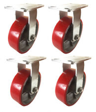 "8"" x 2"" Red Polyurethane on Cast Iron Casters -  4 Rigids"