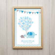 Personalisiertes Bild Baby Geburtstag Elefanten Blau Kunstdruck A4 Kinderzimmer