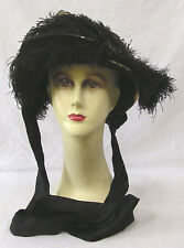 Vintage Early Bonnet 1880s Black Feather Plumes Lace Netting Needs TLC