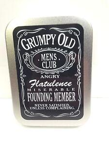 Grumpy Old Mens Club Funny Man Dad Cigarette Tobacco Storage 2oz Hinged Tin