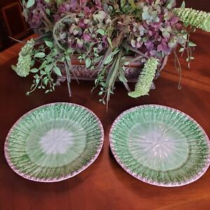 Two Fitz And Floyd Asparagus Dinner Plates Ovenproof Ironstone