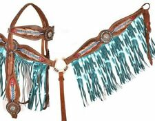 Showman Painted Feather Brow Band Headstall & Fringe Breast Collar Tack Set