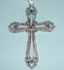 Lenox Cross Ornament Platinum Crystal & Enamel Accents #826565 New