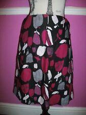 LAURA ASHLEY A LINE LINEN & COTTON pink black grey white floral tulip SKIRT 12