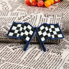 Embroidered Racing Flag Checkered Sew On Iron On Patches Badge Applique Craft