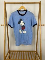 VTG 80s Disney Mickey Mouse Orlando Blue Ringer Thin Soft T-Shirt Size L USA