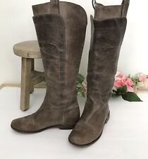Womens FRYE PAIGE Tall Leather Riding Boots sz 6 Burnished Taupe Brown