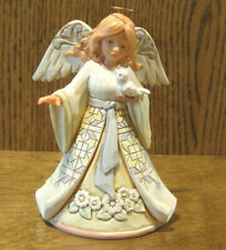 "Jim Shore Pint Size #6004764 White Woodland Angel w/ Bird, ""Beautiful Peace"" 5+"""