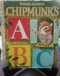 Richard Scarry's CHIPMUNK'S ABC  Little Golden Book 1973 Sydney VGC