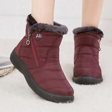 Women Winter Waterproof Snow Booties Warm Fur Lined Side Zip Ankle Boots Shoes