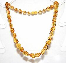 Baltic amber adult necklace, bright cognac color leaves beads 45 cm /17.72 inch