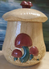 Vintage Arnels Mushroom Hand Painted Ceramic Canister Jar Medium