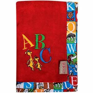 Dr. Seuss Alphabet Seuss ABC Framed Red Coral Fleece Baby Nursery Blanket