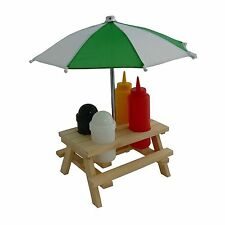 CONDIMENT HOLDER PICNIC BENCH UMBRELLA SET SALT PEPPER SAUCES WOODEN