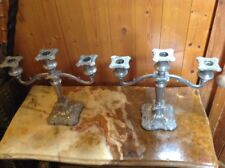 Pair Antique Silver Plated 3 Arm Branch Candelarbra Candlesticks