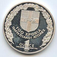 M688 - Griechenland 1 Silberunze 1992 Olympia Barcelona Silber 1 OZ
