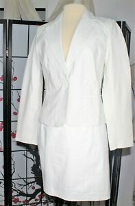 CASUAL CAREER   LEATHER SKIRT SUIT  SEPARATE  WHITE  8 (JACKET NWT)