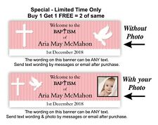 Baptism or Christening Banner,  Baby Girls, Girl Pink, Dove, Cross, Party Event