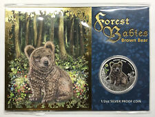 2013 Forest Babies Brown Bear 1/2 oz Proof Silver Coin - Tuvalu 50¢ - Perth Mint