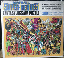 1988 Marvel Super Heroes Fantasy Jigsaw Puzzle Complete 300 Pieces 132 Heroes VG